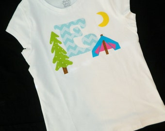 Glamping glamour camping personalized birthday number, initial applique SHIRT, girlie tent and mountain pine tree, girl baby toddler tween