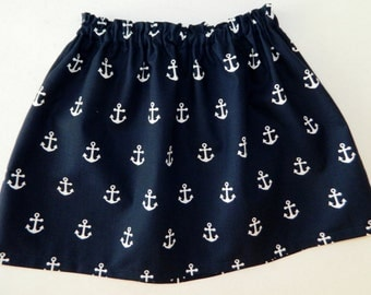 New - Tween, girl, toddler, baby nautical sailor navy blue with white anchors skirt sizes NB - 16