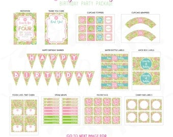 Monogram Lilly Pulitzer Inspired Birthday Party Package DIY