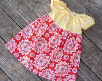 Girl's Infants Toddlers Yellow and Red Medallions Peasant Dress