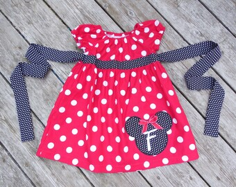 Girl's Infants Toddlers Personalized Minnie Mouse Peasant Dress