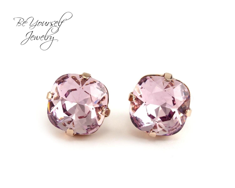 Pale Purple Stud Earrings 12mm Swarovski Crystal Light Amethyst Cushion Cut Earrings Rose Gold Posts Bridesmaid Gift Pastel Wedding Jewelry