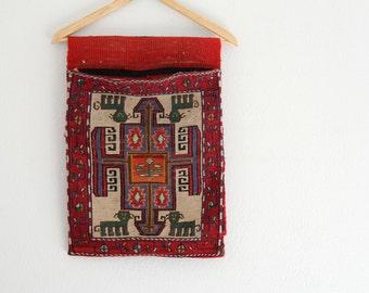 Vintage Hand Woven Saddle Bag Tribal Turkish Design Maroon Ethnic Southwest Rustic Home Decor SALE