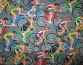 Bikes Racing Bicycle Sports Gray Cotton Fabric Fat Quarter or Custom Listing