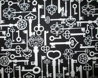 Antique Keys Key Black Cotton Fabric 12 1/2 Inch Scrap Cut