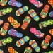 Flip Flops Black Shoes Cotton Fabric Fat Quarter or Custom Listing