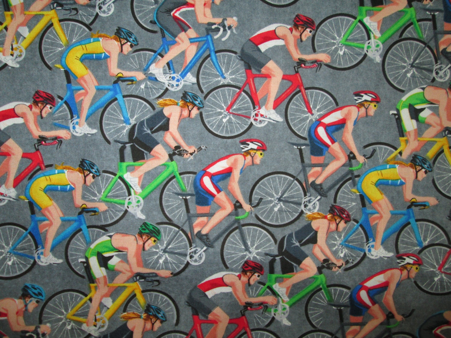 Racing Bicycle Gray Cotton Fabric Fat Quarter Or Custom