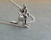 Silver Kangaroo Necklace.  Sterling Silver Chain. Animal Jewelry, Kangaroo Pendant, Small Kangaroo Pendant Necklace