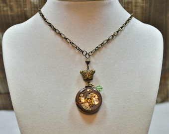 OOAK Double Sided Polymer Clay Mokume Gane and Vintage Watch Gear Pendant, Steampunk