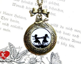 Dancing Sisters Silhouette Locket bronzecolored - gift for best friend twin sister daughter mother bff necklace jewelry
