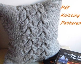 PDF KNITTING PATTERN, Cable knit pillow cover No.3, 16 x 16, button