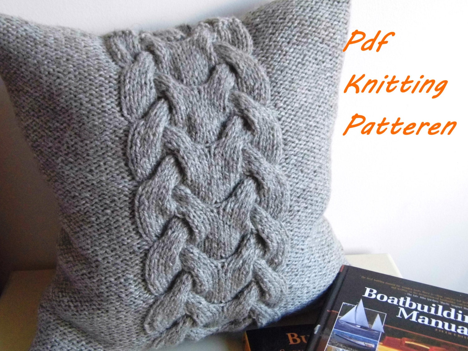 Cable Knit Pillow Pattern : PDF KNITTING PATTERN Cable knit pillow cover No.3 16x16