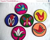 SALE Bright coasters/ Vintage yarn coasters/ multi color bohemian decor/ bird butterfly flower coasters/ set of 6 ethnic coasters