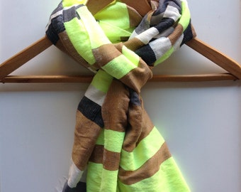 Winter lux Scarf -Cotton Wool Dark Gray Grey, Black ,Yellow Neon, Caramel, White scarves and wraps-Hand-woven Ethiopian Scarf-Men Women F/W