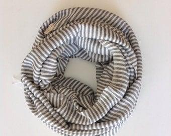 Gray Grey Cotton Ticking Stripe Scarf/ Unisex Ethiopian Cotton Gray & white Stripe Scarf- Men Women Accessories- light Gray and White scarf
