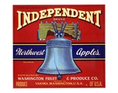 Independent Washington Apple Crate Label - Red