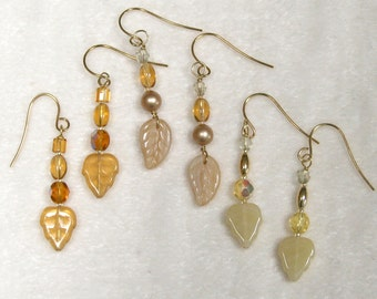 Beaded Leaves Earrings yellow gold pearl topaz