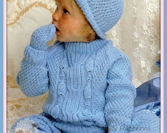 PDF Knitting Pattern - Baby Sweater, Pants, Mittens & Hat Set - Instant Download