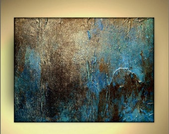 "CANVAS Print of Original Abstract Landscape Painting OXIDIZED by Holly Anderson 30"" Free USA Shipping"