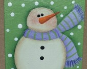 CIJ, wooden snowman pin, hand painted, folk art snowman, country snowman,