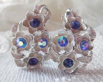 Pakula Vintage Clip Earrings Blue Aurora Borealis Rhinestones Flowers