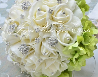 White Jeweled Roses Bridal Bouquet with Rhinestone Handle
