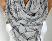 Gray & Pink Cotton Tartan Scarf, So Soft,Fall Shawl, Oversize Plaid Cowl Bridesmaids Gift Gift Ideas For Her Women Fashion Accessories