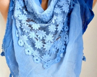 Royal Blue Ombre Scarf,Bohemian, Oversize Scarf,Passover Shawl Scarf Cowl Scarf Gift Ideas for Her Women Fashion Accessories Christmas Gift