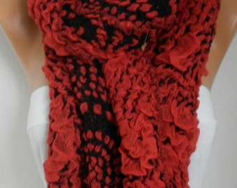 Red Black Scarf, Fall Winter Accessories,  Cowl Scarf Shawl Cotton Scarf Gift Ideas For Her Women Fashion Accessories Women Scarves