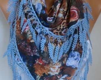 Floral Linen Scarf Christmas Gift Necklace Shawl Oversized Wrap Bridesmaid Gift Ideas For Her Women Fashion Accessories Mother's Day Gift