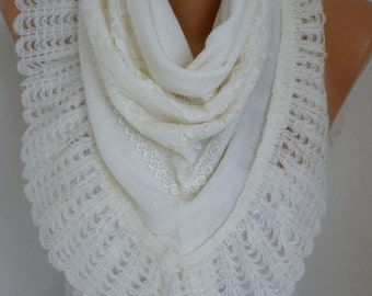 White Knitted Scarf Shawl Cowl Lace Oversized Bridesmaid Gift,Bridal Scarf, Gift Ideas For Her Women Fashion Accessories Mother Day Gift