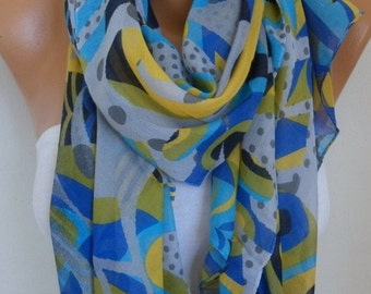 Blue Gray Polka Dot Cotton Scarf, Soft Shawl,Cowl Oversized Wrap Gift Ideas For Her Women Fashion Accessories Beach Wrap Pareo Women Scarves