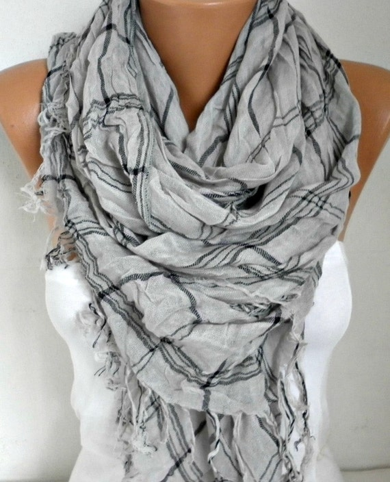 Gray & Pink Cotton Tartan Scarf, Summer Shawl, Plaid Cowl Bridesmaids Gift Gift Ideas For Her Women Fashion Accessories