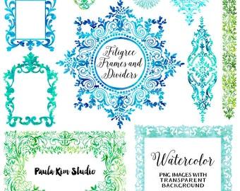 Digital Frames, Blue Watercolor Clip Art Frames, Commercial Use
