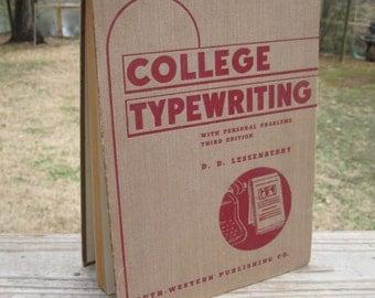 1941 College Typewriting Handbook Third Edition Lessenberry
