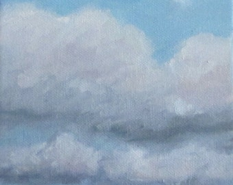 Jennifer Boswell Original Modern Impressionist Art Surreal Abstract Cloud Sky Oil Painting 6x6 Canvas
