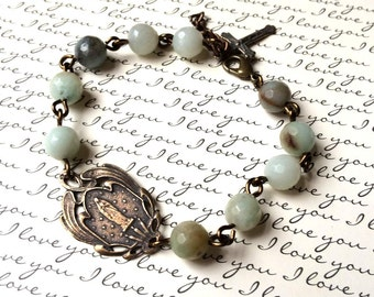 Faceted Amazonite Rosary Bracelet - Our Lady of Lourdes - Rosary Bracelet - Natural Gemstone Bracelet - Bronze Rosary Bracelet