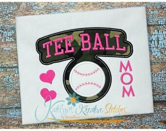 Tee Ball Mom - Block Arc Applique