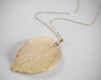 Real leaf necklace, gold leaf necklace, silver leaf necklace, nature statement necklace