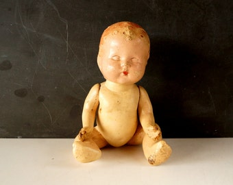 Vintage / Antique Composition Baby Doll with Molded Hair and Jointed Arms and Legs (9 inches) N5 - Collectible, Doll Parts