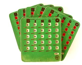 Vintage BINGO Board Cards in Green with See-Thru Red Shutters, PLA-MOR, Set of 6 (1950s) N2 - Game Room Decor, Collectible, Altered Art
