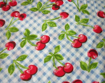 Cherries Fabric on Blue Checks Background  By The Fat Quarter New BTFQ