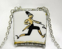Vintage Broken China Necklace Pendant Royal Worcester Platter Running Man, Jogger,  Handmade by Bumbleberry Jewelry