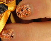 Gold, Frankenpolish, and Myrhh Holiday/ Christmas 2014 Indie Nail Polish Gold, Peach, and Black Glitter Topcoat