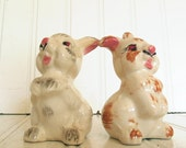 Antique Set of Ceramic Bunnies Salt & Pepper Shakers - Vintage Hand Painted Crazed / Crackled Ceramic Rabbits - Shabby Cottage Chic Decor
