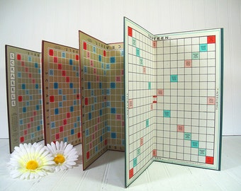 Vintage Scrabble Game Boards Set of 4 - Retro Pieces for Repurposing Upscaling Upcycling - Collection of Colorful Sturdy Flats for Projects