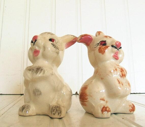 Antique Set of Ceramic Bunnies Salt & Pepper Shakers - Vintage Hand Painted Crazed / Crackled Ceramic Rabbits - Shabby Cottage Chic Decor