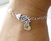Sterling Silver Jellyfish Bracelet with Personalized Initial-- Beach -- Summer Wedding