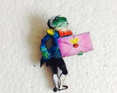 Frog Butler Holding Invitation Letter from Alice in Wonderland Wooden Brooch Unbirthday Mad Hatters Tea Party Gift for Book Fans and Women