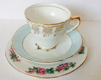 Mix and Match Trio Set Gold White, Light Blue & Pink Rose  Made in England Teacup and Saucer plate Islington Albany Nesden Vintage Gift Set